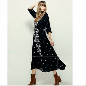 Free People Embroidered Fable Boho Maxi Dress